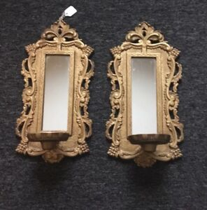 A Pair Vintage Hollywood Regency Italian Gold Gilt Wheat Mirrored Candle Sconce