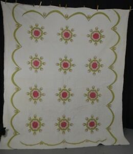 Antique Quilt Appliqu Floral Album Pink Green White Civil War Era 1860