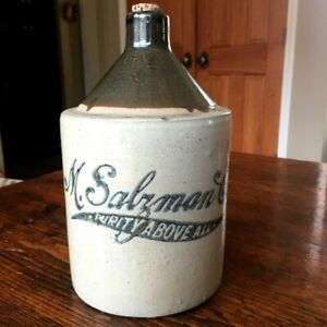 Antique Vintage M Salzman Co Purity Above All 1 2 Gal Ceramic Whisky Jug