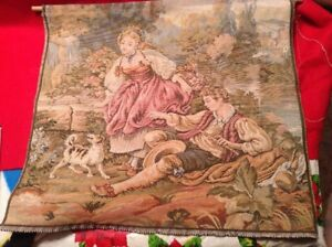 French Love Scene Chateau Vintage Tapestry In Fine Detail 20 X 18