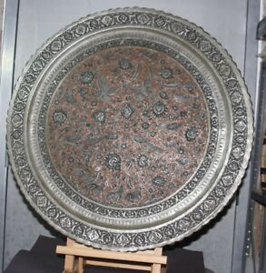 Antique 18th 19th Ce Persian Qajar Solid Copper Silver Inlay Tray Huge 27 D