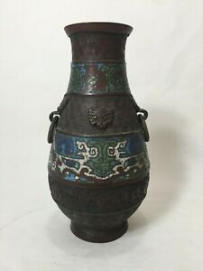 Antique Chinese Bronze Cloisonne Enamel Vase For Lamp Body 9 1 2 Tall X 5 W