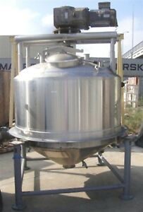 Apv 500 Gallon Steam Jacketed Double Motion Cone Bottom Scrape Surface Mix Tank