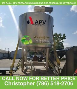300 Gallon Apv Jacketed Processing Blending Mix Tank Stainless Steel