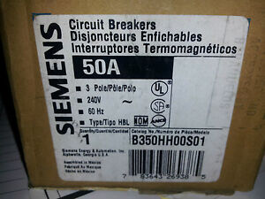 Siemens B350hh00s01 3 Pole 50 Amp 240 Volt W 120v Shunt New In Box Breaker b2