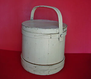 Painted Antique Primitive New England Wooden Firkin Sugar Bucket W Original Lid