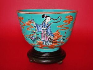 Turquoise Ground Famille Rose Iron Red Jiaqing Period Chinese Porcelain Bowl
