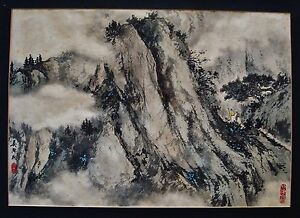 Unframed Signed Chinese Mountain Landscape Ink And Color Painting
