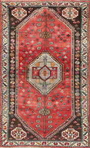 One Of A Kind Tribal Geometric Abadeh Persian Oriental Hand Knotted 4x6 Wool Rug