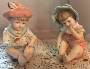 Vintage Piano Babies Boy Girl Bisque Porcelain Figurines Numbered 6172