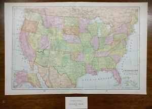 1901 United States Of America Vintage Atlas Map 22 X14 Old Antique Usa