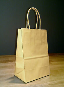 5 25 X 3 25 X 8 5 Small Kraft Brown Paper Shopping Gift Bags With Rope Handles