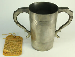 Antique C 1835 50 English Pewter Stirrup Cup Two Handled Mug Tankard Hunting