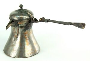 Antique Ottoman Turkish Tin Lined Copper Cezve Sand Coffee Brewing Pot