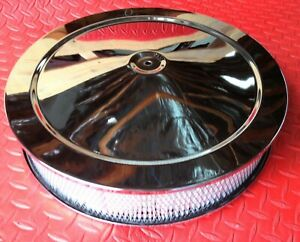 Air Cleaner Chrome Muscle Car 14 Flat Base Triple Chrome Plated Air Filter Assm