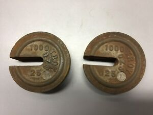 Two Vintage Cast Iron Stacking Nesting Scale Weights Troy Ounce 1000 25
