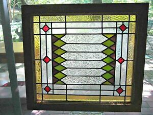 Leaded Stained Glass Window Geometric Textured Clear Mulberry Amber Green 2 Aval
