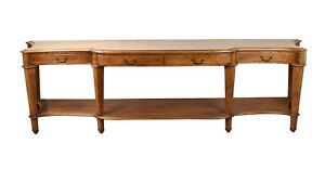 10 Ft Vintage Mahogany Banded Inlay Breakfront Console Or Hall Table