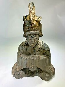 Antique Chinese Deity Carved Monk Statue Figurine