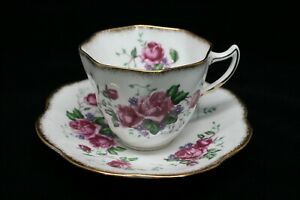 Rosina Pink Rose English Bone China Tea Cup And Saucer With Gold Trim 5078