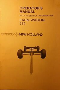 New Holland 10 Ton 234 Farm Wagon Owners Manual Agricultural Gear Forage Hauling