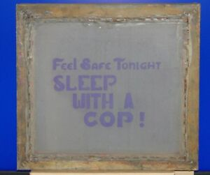 Vintage T shirt Silk Screen Stencil Frame Feel Safe Tonight Sleep With A Cop