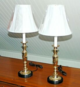 Pair Brass Lamps Candlestick Candle Holders Column Classical Buffet Lamps