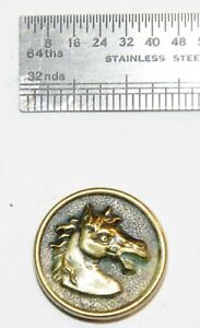 Antique Vintage Brass Picture Button France Sport Sporting Hunt Livery Horse