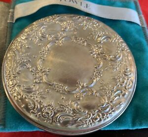 Decorated Towle Round Sterling Silver 3 Purse Make Up Mirror