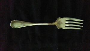 Serving Fork Vintage Silver Plate Rogers Bro A1 Rare Arrow Across Maker Mark
