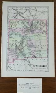 1896 New Mexico Vintage State Map 7 X10 Old Antique Gallery Wall Art Decor Mapz
