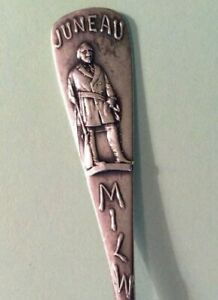 Milwaukee Sterling Souvenir Spoon Solomon Juneau Fur Trader 1891 By Durgin