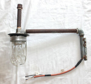 Vtg Single Arm Edison Pipe Sconce Wall Light Industrial Retro Gas Station Barn