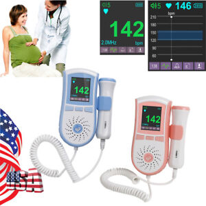 Handheld Color Lcd Pocket Fetal Doppler Baby Fetal Heart Monitor Dual Interface