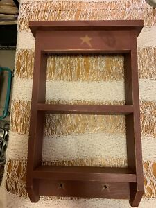 Wood Hanging Primitive Country Shelf Kitchen Wall Display Unit Texas Star Rodeo