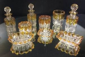 Val St Lambert Dresser Set Crystal Amber Very Nice Buy It Now