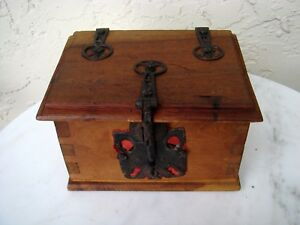 Antique Small Wood Box Medieval Hardware Dove Tailed Unique