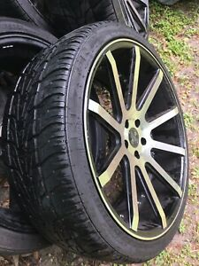 22 Inch Rims 265 35 R22 Grey And Black With New Tires