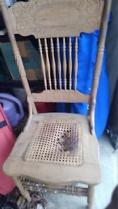 Antique Pressed Back Oak Cane Chair Two Both Need Re Caned Pick Up Only 17603