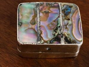 Mexican Sterling Abalone Silver Hinged Pill Box Iguala 1948 80 Signed E L M