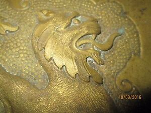 Vintage Brass Handcrafted Tray Lion Design Possibly English