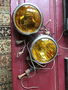 Two Vintage Auto Lamp Mfg Co Model 10 Fog Lights