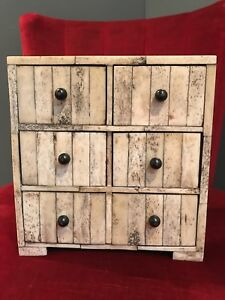 Antique Bovidae Cow Bone Collector S Specimen Cabinet Chest Drawers Jewellery