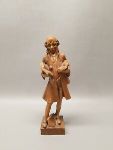 Vintage Wooden Hand Carved Figure Detailed Historian Librarian Man Books 8