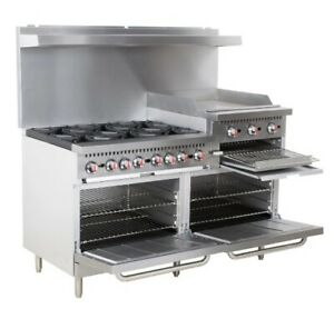 Restaurant Range 6 Burner Gas Oven Griddle Supply Equipment 60 Commercial Stove