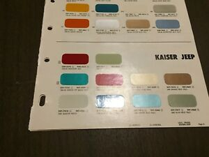 1965 Jeep Kaiser Willys Paint Chip Chart