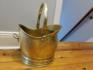 Vintage Antique Handcrafted Hammered Copper Brass Fire Bucket