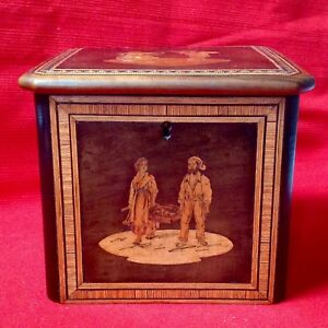 Antique Olive Wood Tea Caddy Box Inlaid With Walnut Pink Ivory Wood Ivory Wood