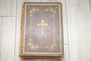 Antique Imperial Family Bible Gold Gilded Pages Circa 1844