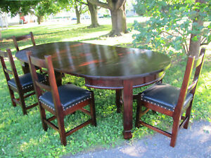 Antique Arts Crafts Set Of 4 Roycroft Chairs Dining Table W3901 Stickley Era